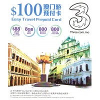 3 Macau Easy Travel $100 Prepaid Card